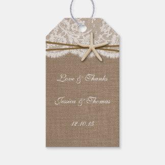 La colección rústica del boda de playa de las etiquetas para regalos