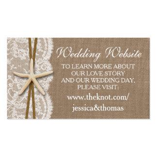 La colección rústica del boda de playa de las tarjetas de visita