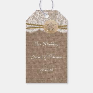 La colección rústica del boda de playa del dólar etiquetas para regalos