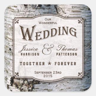 La colección rústica del boda del árbol de abedul pegatina cuadrada