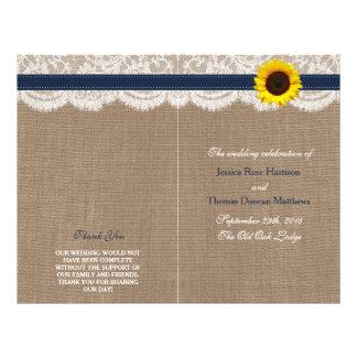 """La colección rústica del boda del girasol - marina folleto 8.5"""" x 11"""""""