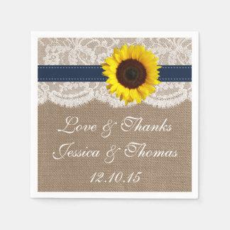 La colección rústica del boda del girasol - marina servilletas de papel