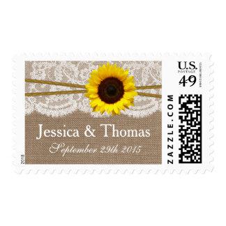 La colección rústica del boda del girasol timbre postal
