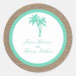 La colección tropical del boda de playa de la pegatina redonda