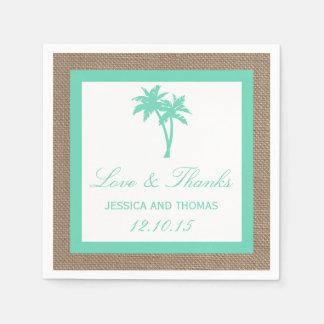La colección tropical del boda de playa de la servilletas desechables