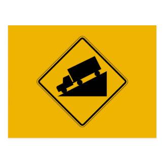La colina (gráfico), trafica la señal de peligro, tarjeta postal
