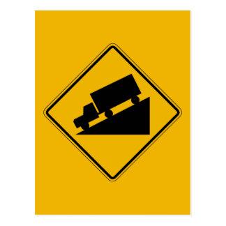 La colina (gráfico), trafica la señal de peligro, tarjetas postales