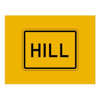 La colina (texto), trafica la señal de peligro, postal