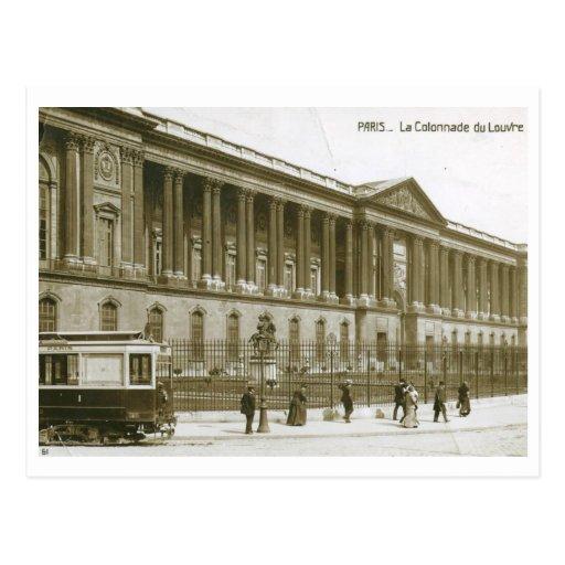 La Colonnade du Louvre, vintage de París Postal