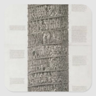 La columna de Trajan (grabado) Pegatina Cuadrada