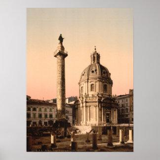 La columna de Trajan, Roma, Lazio, Italia Póster
