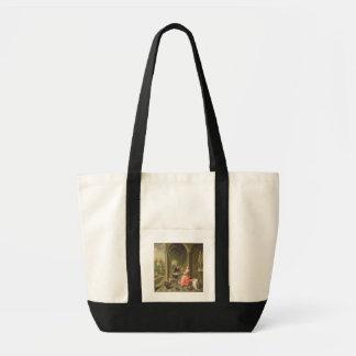 La columnata de una casa de campo con un seate de  bolsas lienzo