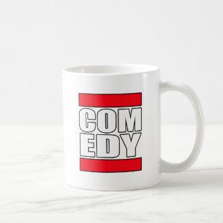 la comedia cómica divertida se levanta al cómico tazas de café