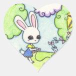 La cometa del conejito se pega en un árbol pegatina en forma de corazón