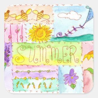 La cometa florece verano de la acuarela de las pegatina cuadrada