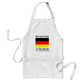 La comida alemana es el wurst delantal