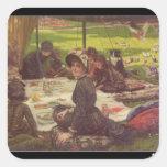 La comida campestre, c.1881-2 pegatina cuadrada
