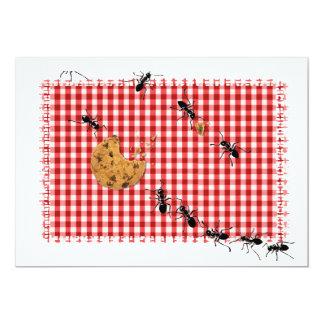 """La comida campestre de la hormiga invita invitación 5"""" x 7"""""""