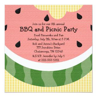 La comida campestre de la sandía invita a invitación personalizada