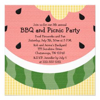 La comida campestre de la sandía invita a invitaci invitación personalizada