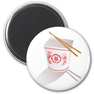 La comida china saca los palillos de la caja gráfi iman de nevera