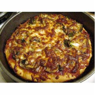 La comida de la pizza que cocina el bróculi prolif fotoescultura vertical