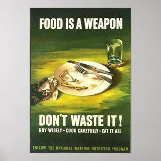 ¡La comida del vintage es un arma, no la pierde! T Poster