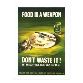 ¡La comida del vintage es un arma, no la pierde! T Postal