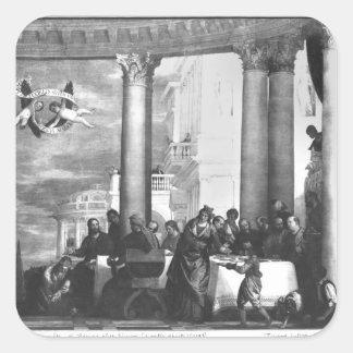 La comida en la casa de Simon el Pharisee Pegatina Cuadrada