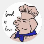 La comida es amor, pegatinas del cocinero del pegatina redonda