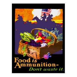 La comida es munición tarjeta postal
