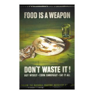 La comida es un arma no pierde papeleria personalizada