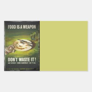 La comida es un arma no pierde rectangular pegatinas