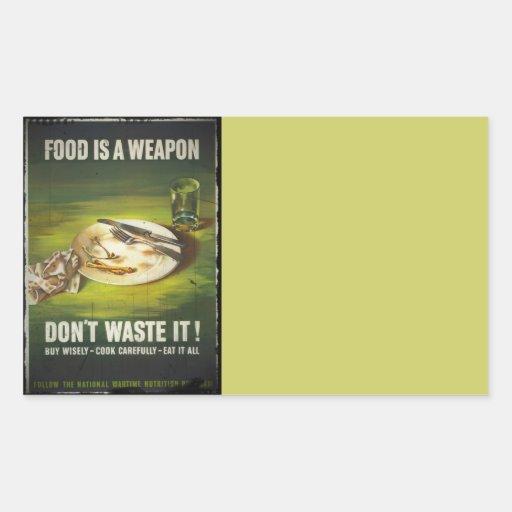 La comida es un arma no pierde pegatina rectangular