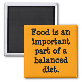 La comida es una parte importante de una dieta equ imán cuadrado
