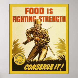 La comida está luchando el poster del vintage WW2
