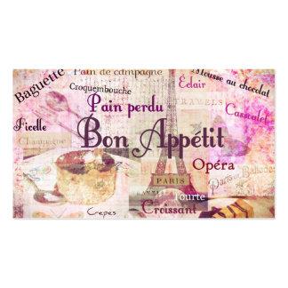 La comida francesa de Appétit del Bon redacta al c Tarjetas De Visita