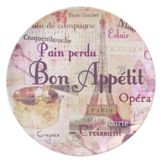 La comida francesa de Appétit del Bon redacta la d Plato De Cena