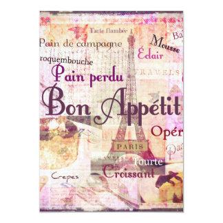 """La comida francesa del estilo de Appetit del Bon Invitación 5"""" X 7"""""""