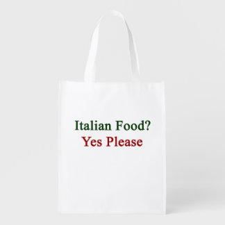 La comida italiana satisface sí bolsas de la compra