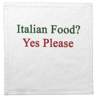 La comida italiana satisface sí servilleta