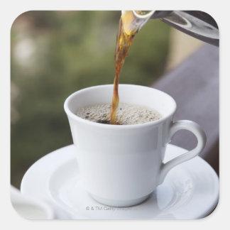 La comida la comida y la bebida café vierten g calcomanías cuadradases