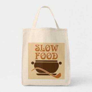 La comida lenta es la mejor bolsa tela para la compra