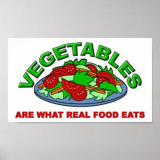 La comida real come el poster divertido