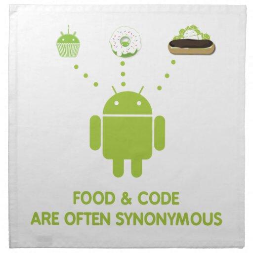 La comida y el código son a menudo sinónimos (inse servilleta de papel
