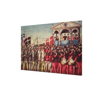 La comitiva de baterías y de soldados lona estirada galerias
