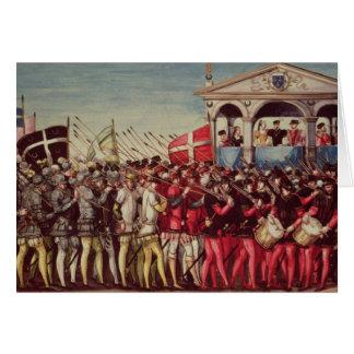 La comitiva de baterías y de soldados tarjeta de felicitación