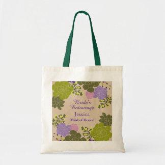 La comitiva de la novia floral suculenta elegante bolsa tela barata