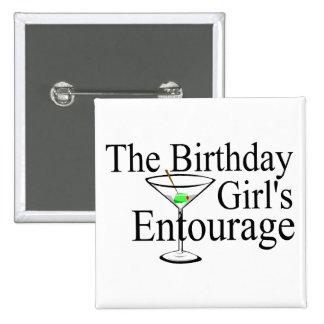 La comitiva de los chicas del cumpleaños pin cuadrado