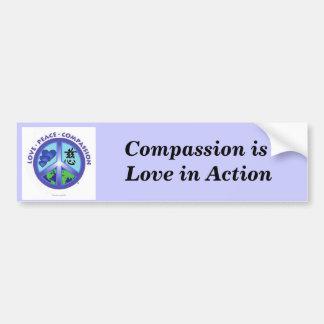 La compasión es amor en pegatina para el parachoqu pegatina para auto